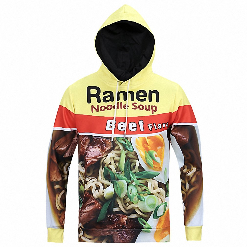Printed Pork//Chicken//Beef Ramen Noodle Soup Foods 3D Graphic Hoodies Men Women Funny Hooded Vibrant Young Sweatshirts