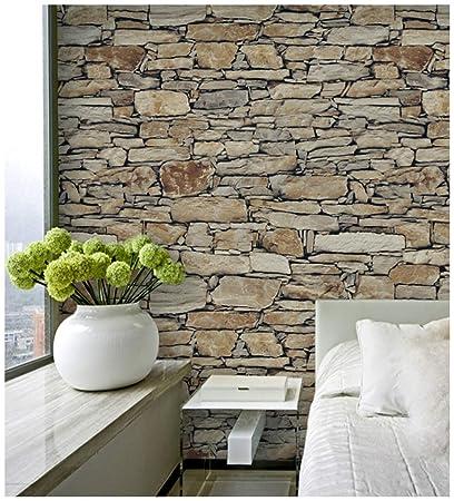 Haokhome 8067 Vintatge Stone Wallpaper Rolls Sand Taupe Khaki Brick Realistic Designer Home Interior Decoration 20 8 X 393 7