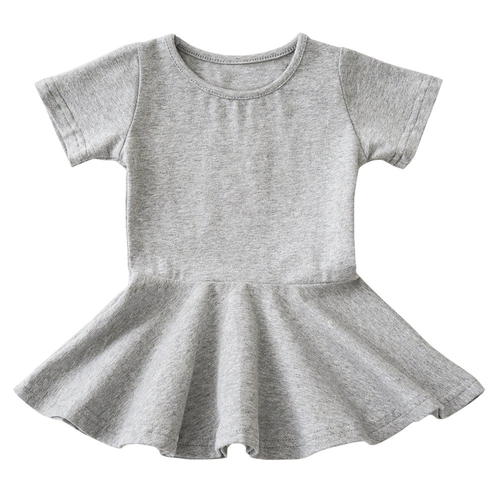 Yinqusiting Toddler Girls Dresses Ruffled Organic Cotton Short Sleeves Solid Colors 6-48m (6-9m, Grey)