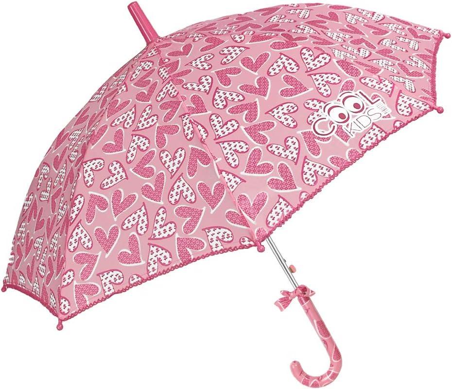 Paraguas Niña con Corazónes Rosa - Forma de Balon - Moño en el ...