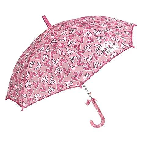 Paraguas Niña con Corazónes Rosa - Forma de Balon - Moño en el Mango y Borde
