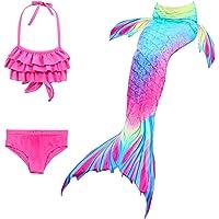 Girl Swimsuit Set 3Pcs Mermaid Tail for Girls Swimming Swimsuits Princess Bikini Set for Toddler Big Girls Birthday Gift