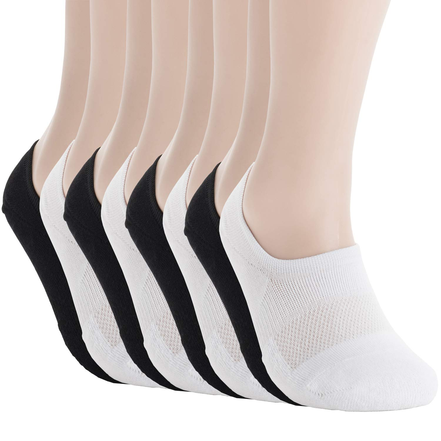 Pro Mountain Women's No Show Flat Cushion Cotton Footies Sneakers Sports Socks (S(US Women Shoes 5.5~7.5), White4 Black4 8pairs Pack S-size) by Pro Mountain