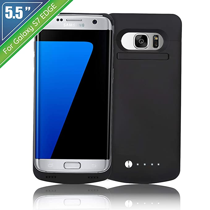 """newest 281ec 8d3f2 NRO [Upgraded] Samsung Galaxy S7 Edge Battery Case Charger (5.5"""") 5200mAh  Portable Charging Case with Tempered Glass Screen Protector + Kickstand"""