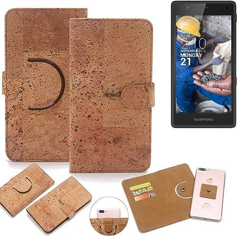 K-S-Trade Schutz Hülle für Fairphone Fairphone 2 Handyhülle Kork Handy Tasche Korkhülle Handytasche Wallet Case Walletcase Sc