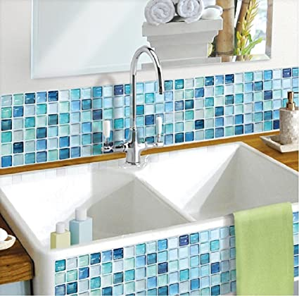 Beaustile Mosaic 3D Wall Sticker Home Decor N Blue Fire Retardant  Backsplash Wallpaper Bathroom Kitchen