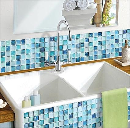 Beaustile Mosaic 3D Wall Sticker Home Decor N Blue Fire Retardant  Backsplash Wallpaper Bathroom Kitchen