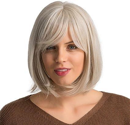 Peluca de pelo corto para mujer, color blanco y gris, corta ...