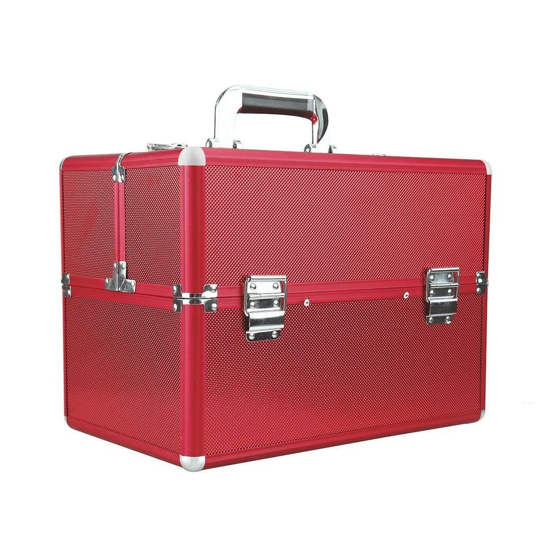 Makeup Train Cases Professional Large Make Up Boxes Artist Organizer Kit Makeup Cases Red