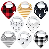 Amazon Price History for:Bandana Baby Bibs for Boys and Girls by KiddyStar, Unisex 8-Pack 100% Organic Cotton Bib Set (Plaid), Cute Newborn and Cool Baby Shower Gift for Teething and Drooling, Soft and Absorbent