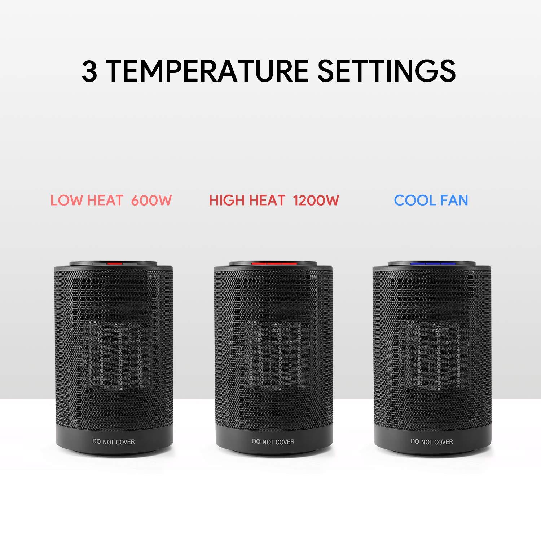 MARNUR Mini R/échauffeur Soufflant /Électrique Pour la Maison et le Bureau Ventilateur 1200W Chauffage en C/éramique PTC Radiateur Oscillant Avec 3 Modes de Protection Contre la Surchauffe