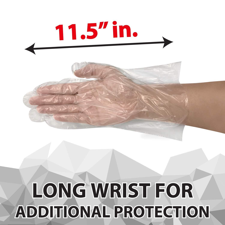 SAFE HANDLER Disposable Food Handling Long Cuff Poly Gloves | One Size Fits Most, 0.65g, 11'', 200 Packs of 50 Gloves, (10,000 Gloves Total) by Safe Handler (Image #3)