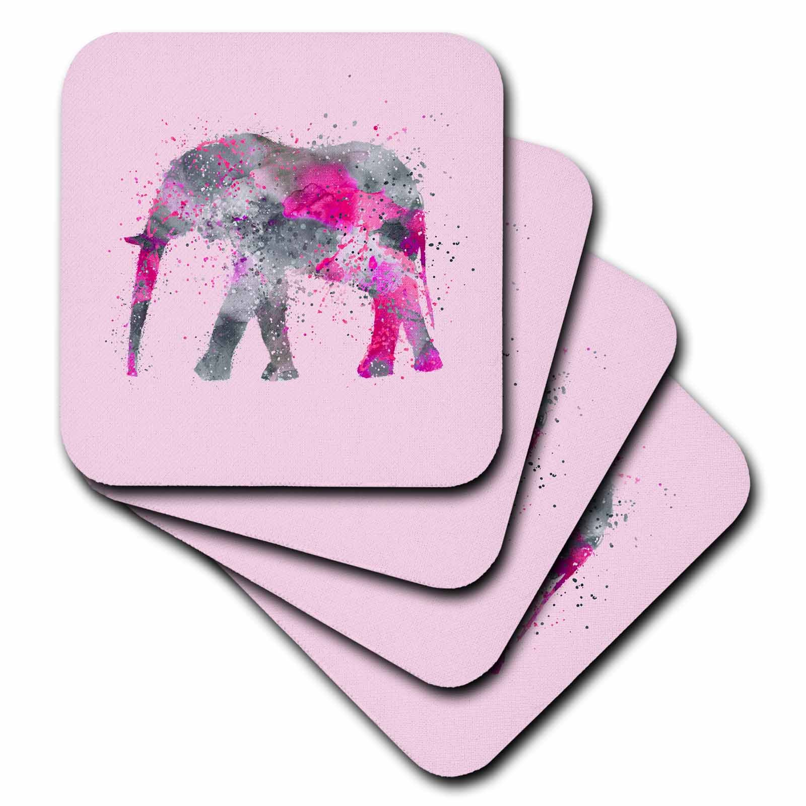 3dRose Andrea Haase Animals Illustration - Pink watercolor elephant artwork - set of 4 Coasters - Soft (cst_262970_1)