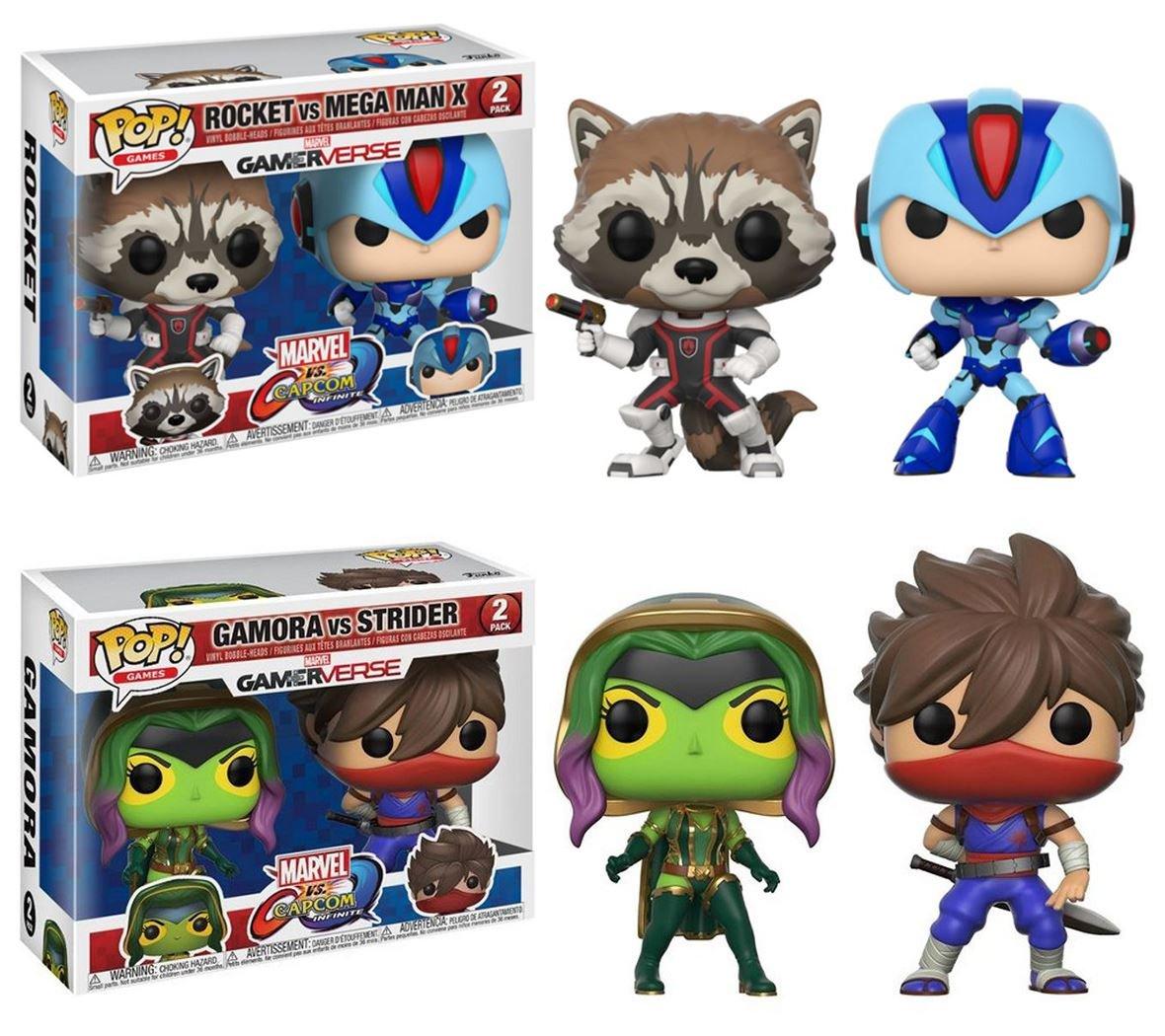 FunkoPOP Marvel vs Capcom  Rocket vs Mega Uomo X + Gamora vs Strider – Stylized Vinyl Bobble-Head Figure Bundle Set