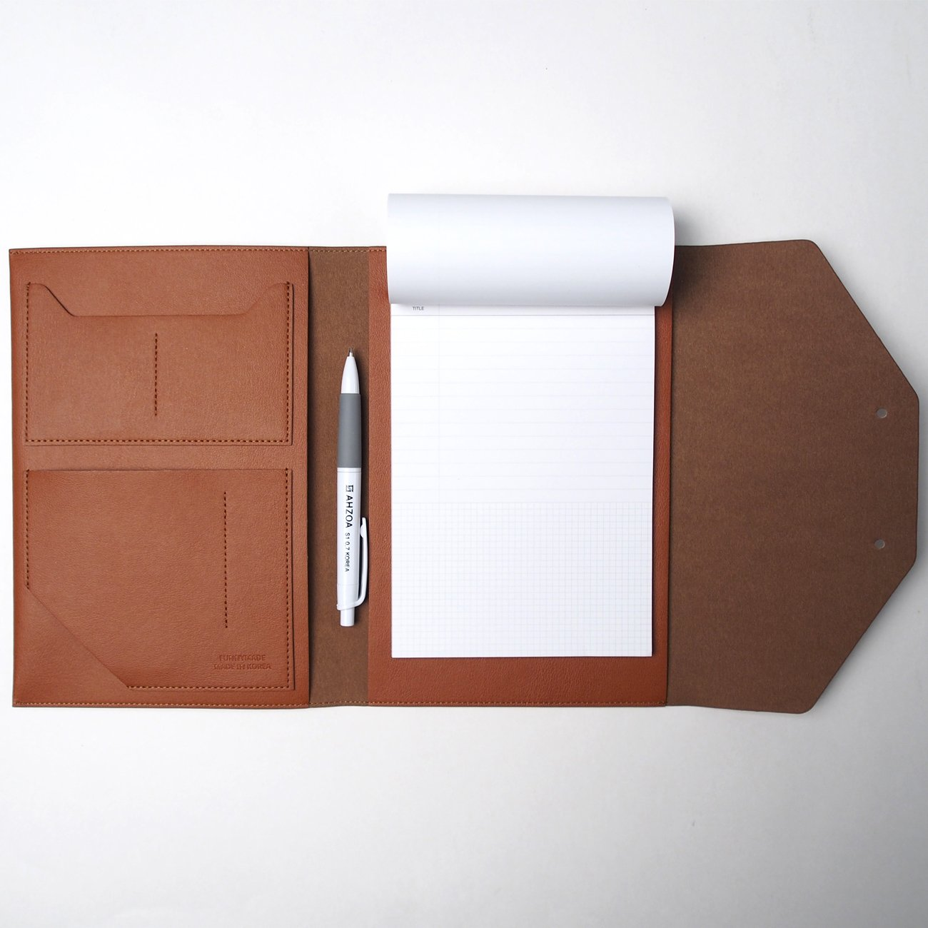 Flap Top Multi A5 Padfolio with AHZOA Pencil, Included 5 X 8 inch Legal Writing Pad, Synthetic Leather 7.1 x 9.06 inch Handmade Handy Organizer Pouch (Brown)