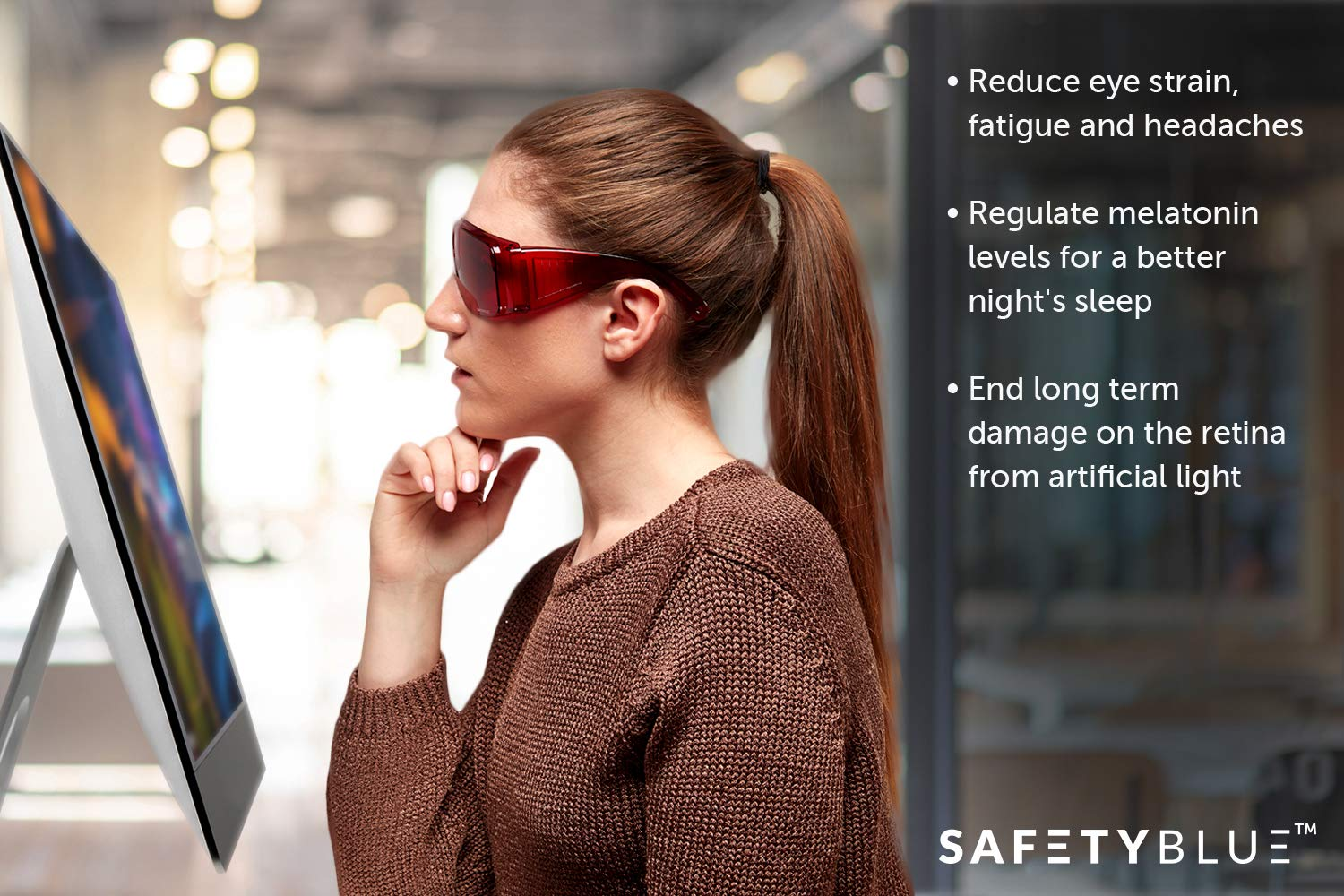 Sleep Savior™ Fitover Glasses - Anti-Blue & Green Blocking Glasses | Fit Over Most Prescription Eyeglasses | Better Night Sleep & Reduce Eyestrain & Insomnia | for Women and Men by SafetyBlue (Image #4)