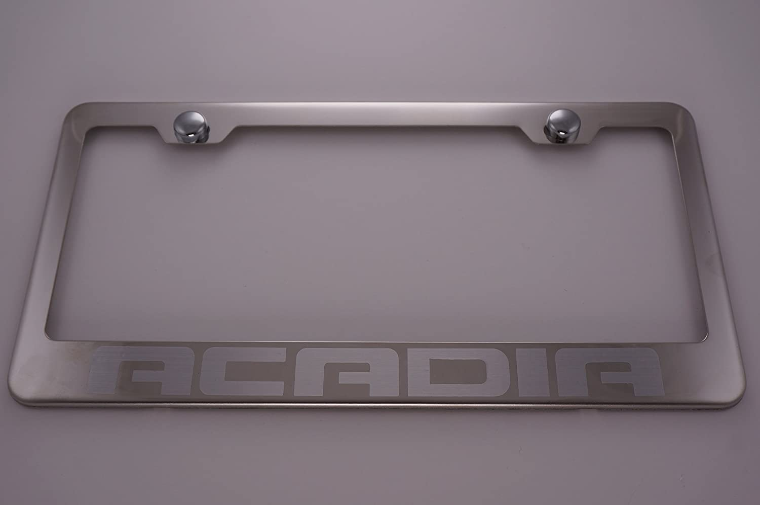 Acadia GMC Stainless Steel Black License Plate Frame Rust Free Caps