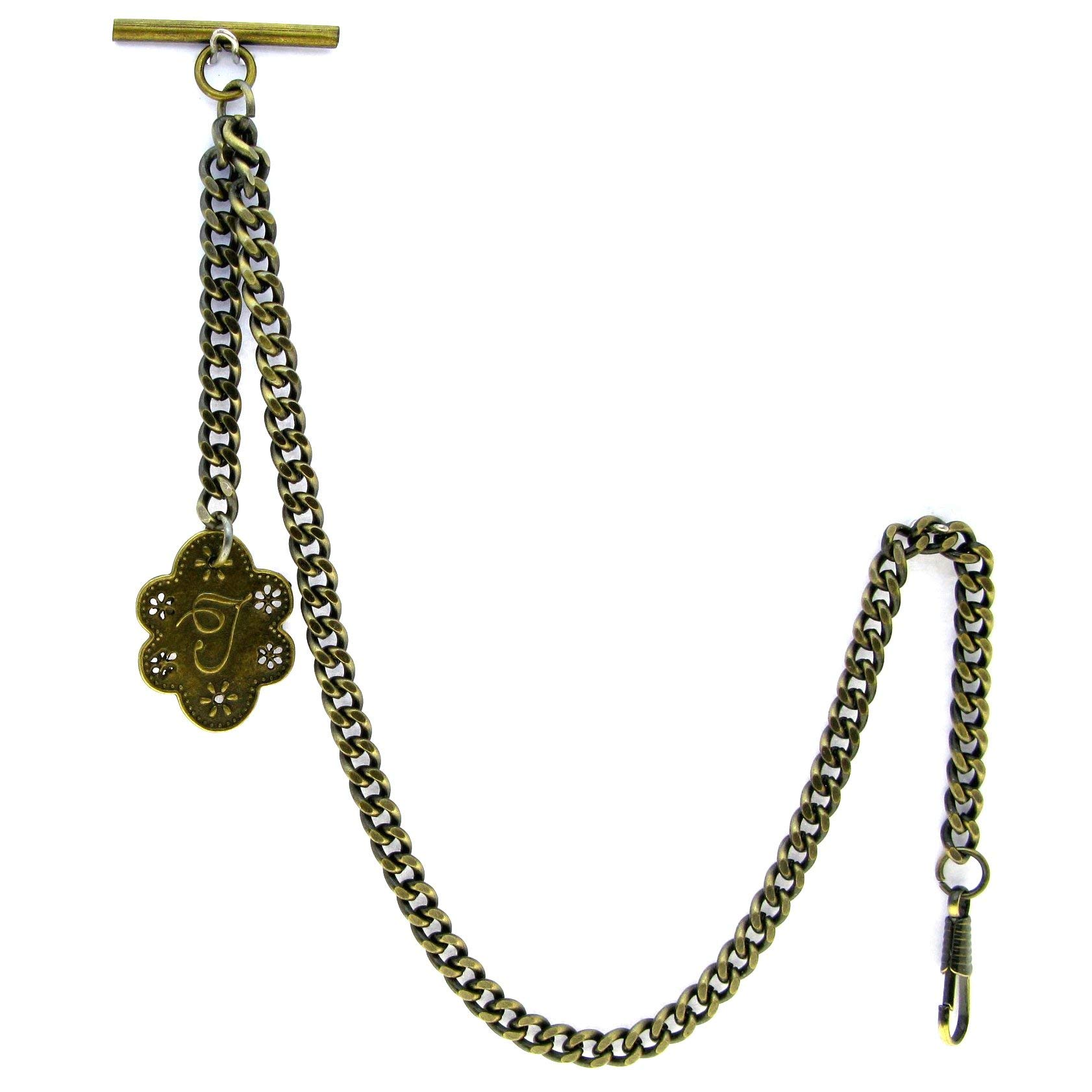 Albert Chain Pocket Watch Curb Link Chain Antique Brass Color + Alphabet T Initial Letter Fob T Bar AC83