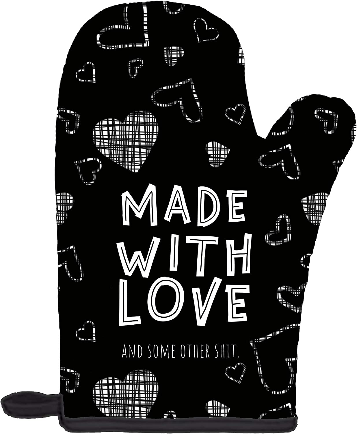 Twisted Wares Oven Mitt - Made with Love and Some Other Shit - Funny Pot Holder, Heat Resistant Glove - Black