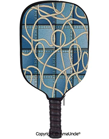 SCOXIXI 3D Pickleball Paddle Racket Cover Case,Various Patches of Denim in Sea with Sailor