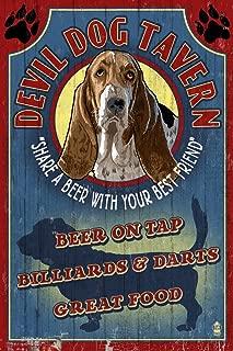 product image for Devil Dog Tavern Vintage Sign - Basset Hound 34154 (24x36 SIGNED Print Master Art Print - Wall Decor Poster)