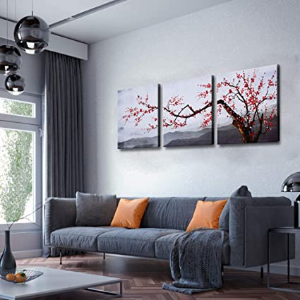 Large Wall Art Set Plum Blossoms Flower Traditional Chinese Painting Canvas Print With Hand Painted Texture Framed Modern Mountain Landscape Floral