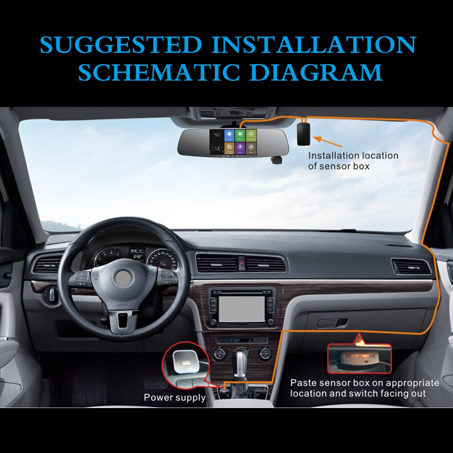 Spedal Car Dash Cam 1080p Hd 50 Touch Screen Dashboard Plcm7200 Wiring Diagram Camera 360automatic Rotation With Parking Monitor Loop Recording