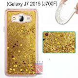 KC Flowing Liquid 3D Bling Glitter Hearts Case Transparent Soft Back Cover for Samsung Galaxy J7 2015 (J700F) - Gold