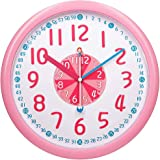 TXL Learning Time Teaching Clock, Hour in Pink/Minute in Blue, Easy to Read Time Analog Clock, Safe Material Large Numbers Si