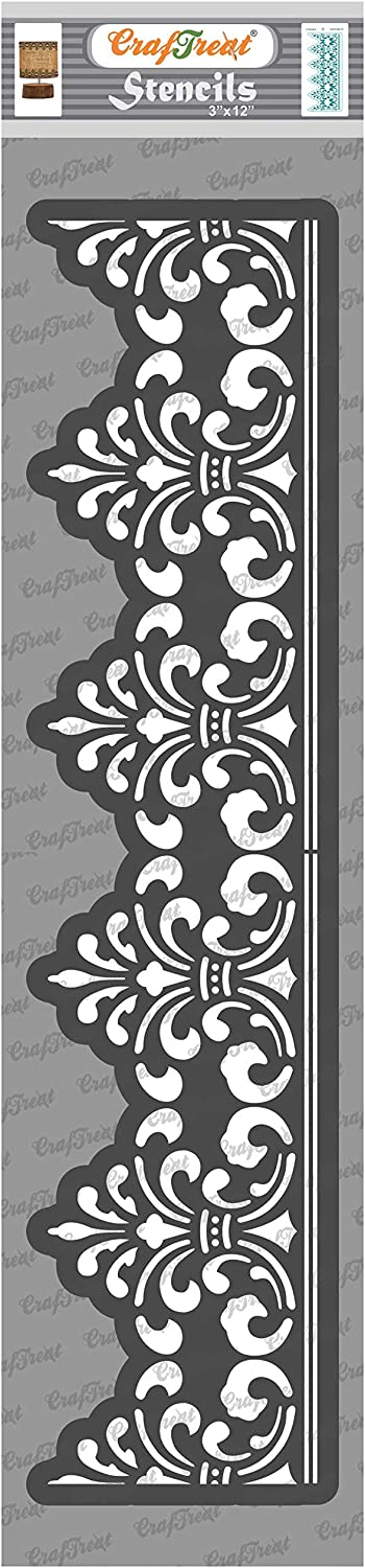 CrafTreat Decorative Border Stencils for Painting on Wood - Border 21-3x12 Inches - Floral Design Border Stencils for Painting Furniture - Borders Damask Stencil for FloorTile