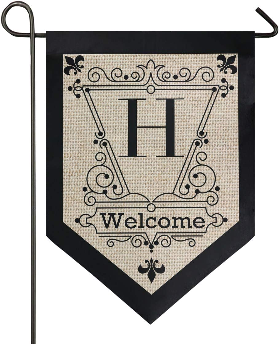 Oarencol Monogram Letter H Garden Flag Double Sided Home Yard Vintage Decor Banner Outdoor 12.5 x 18 Inch
