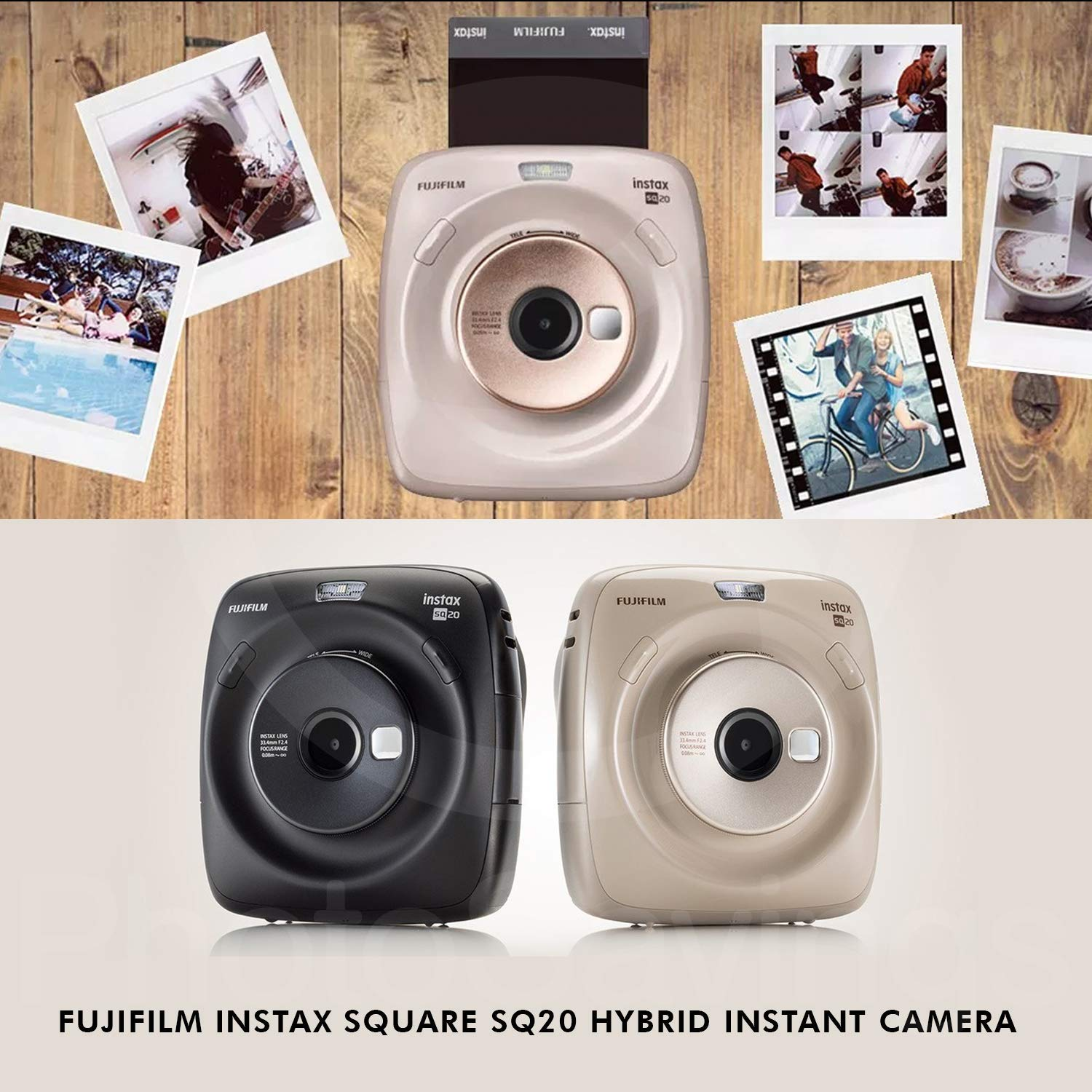 Fujifilm Instax Square SQ20 Hybrid Instant Camera (Black) - Deluxe Accessory Bundle with 40 Sheets of Instant Film + 16GB Micro sd Card + Case + Xpix Camera Strap and More. (USA Warrantty) by Fujifilm (Image #2)