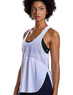 CRZ YOGA Mujer Camiseta de Malla Deportiva sin Mangas de Correr Fitness  División Lateral 40a9d08114fa7