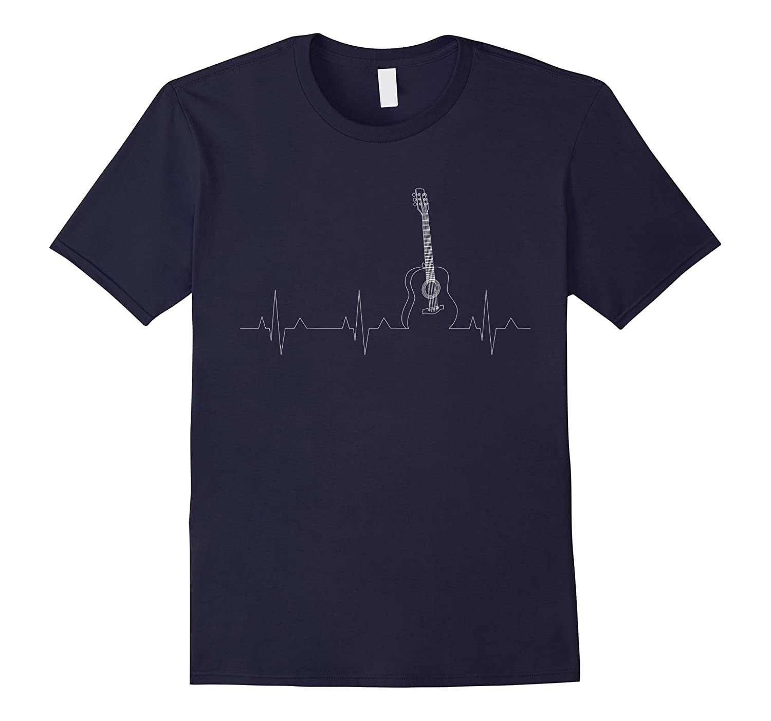 Acoustic Guitar T-Shirt Cool Musician Tee Heartbeat Pulse-Art