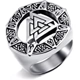 Elfasio Mens Stainless Steel Ring Band Valknut Scandinavn Odin Symbol Norse Viking Jewelry Size 8-14