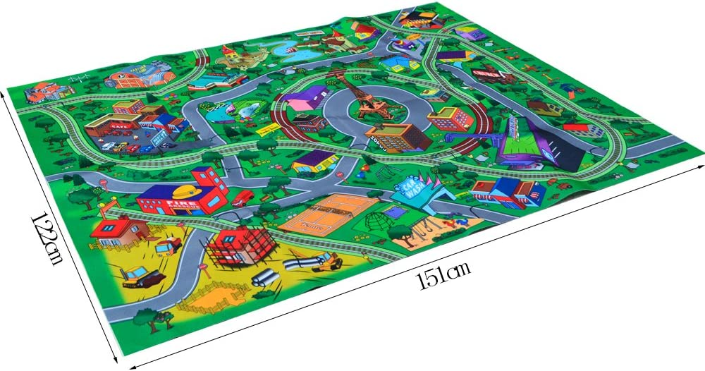 Happytime Kids City Traffic Play Mat Baby Care Activity Big City Playmat with Traffic Sings Toy Cars and Load for Kids