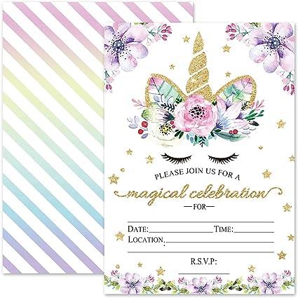 Amazon.com: Invitaciones de cumpleaños de unicornio mágico ...