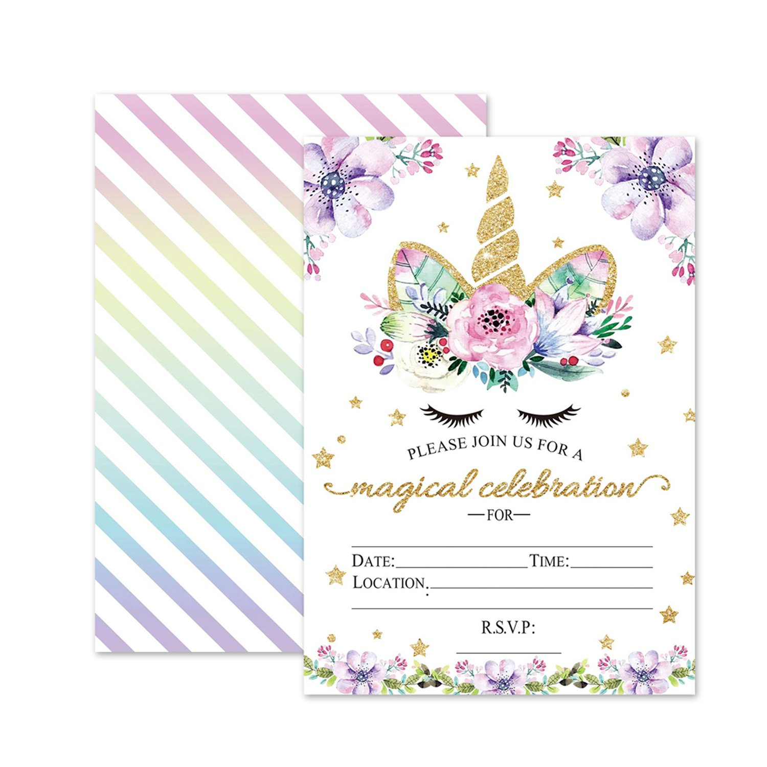 Magical Unicorn Birthday Invitations, Outego Glitter Unicorn Invitations with Envelopes for Kids Birthday (24 Pack) by Outego