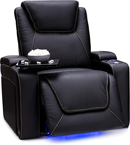 Seatcraft Pantheon Big Tall 400 lbs Capacity Home Theater Seating Leather Power Recline with Adjustable Powered Headrest and Lumbar Support, SoundShaker, and Lighted Cup Holders Black