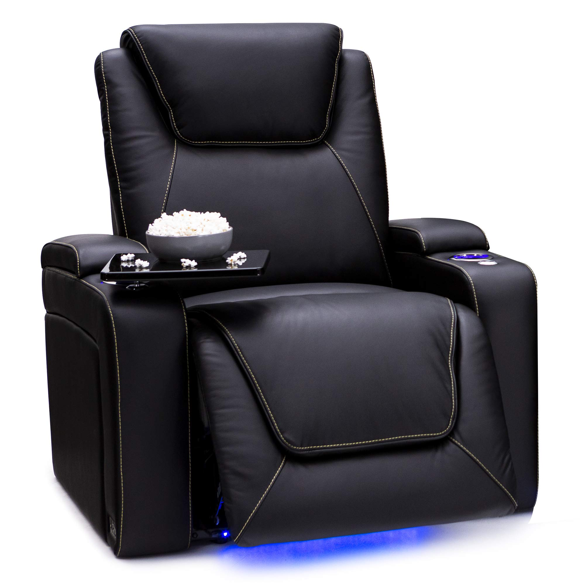 Seatcraft Pantheon Big & Tall 400 lbs Capacity Home Theater Seating Leather Power Recline with Adjustable Powered Headrest and Lumbar Support, SoundShaker, and Lighted Cup Holders (Black) by Seatcraft