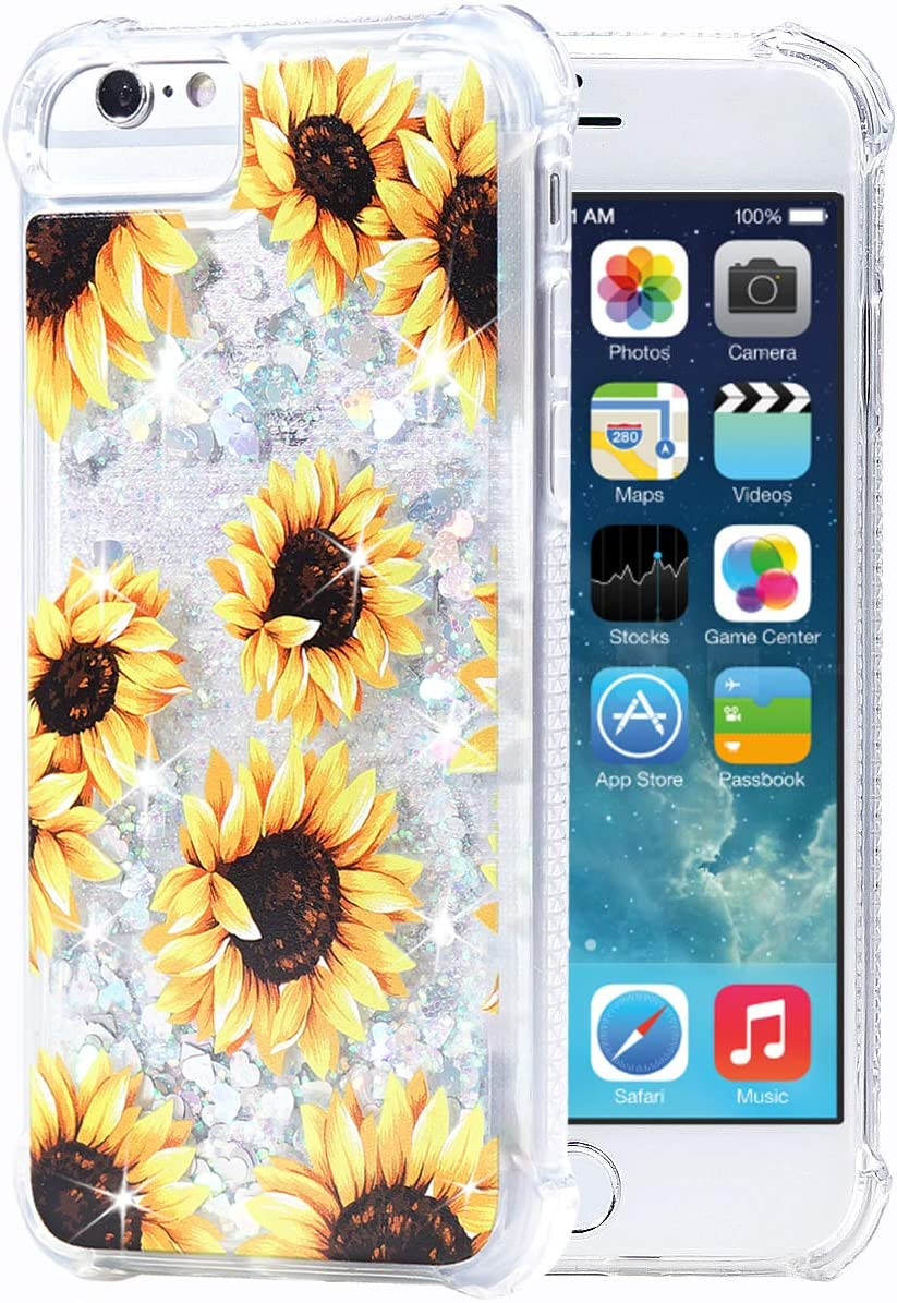 Flocute iPhone 7 Case,iPhone 8 Floral Glitter Flower Case Bling Sparkle Floating Liquid Soft TPU Cushion Luxury Case for Girls Women Cute Case for iPhone 7 iPhone 8 4.7 Inch (Sunflower)