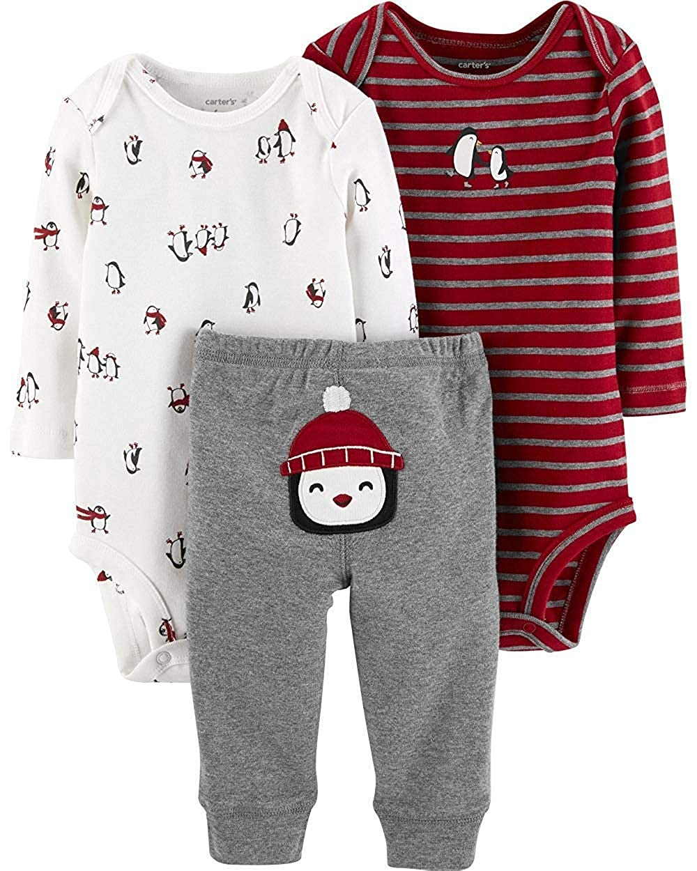 Amazon Com Carters Baby Boys 3 Pc Handsome Bear Layette Set Clothing