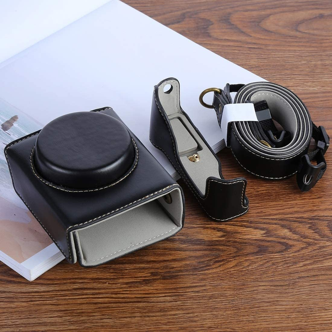 Color : Black with Strap Durable G7XII PU Leather Camera Protective Bag for Canon Powershot G7X Mark 2 G7XII Digital Camera