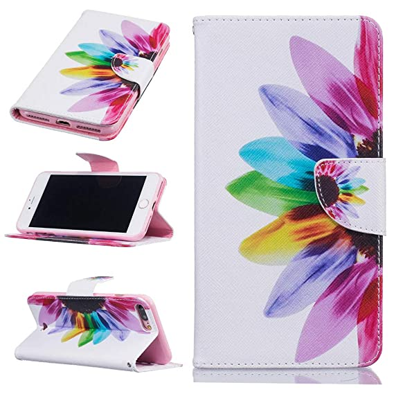 Multicolor Flower PU Leather Colorful Wallet Case Credit Card Cash Stand Cover - Estuches Fundas Forros Carteras (iPhone 7 Plus)
