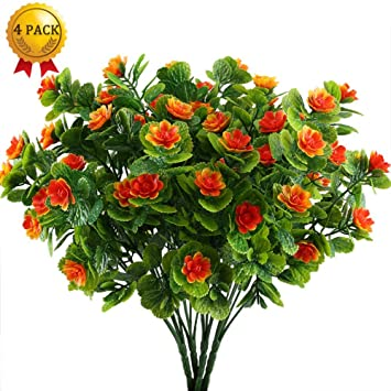 Nahuaa Fake Blumen 4 Stucke Orchideen Kunstlich Orange Kunstpflanze