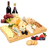 """Signature Living Large Bamboo Cheese Board (16"""" x 10"""" x 1.2"""") Beautiful Charcuterie Board for Cheese, Crackers, Meat - Durabl"""