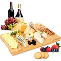 """Signature Living Large Bamboo Cheese Board (16"""" x 10"""" x 1.2"""") Beautiful Charcuterie Board for Cheese, Crackers, Meat…"""