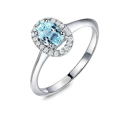 252700eb3f77 Blisfille Joyas Anillo Compromiso Plata Mujer Anillo de Oval Anillo Oro  Diamantes Anillo de Plata de Ley 925