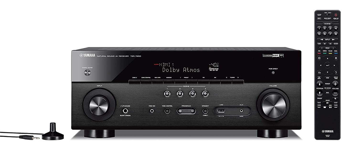 Yamaha TSR-7850R 7.2CH Dolby Atmos DTS Wi-Fi BT 4K Receiver, Black (Renewed)