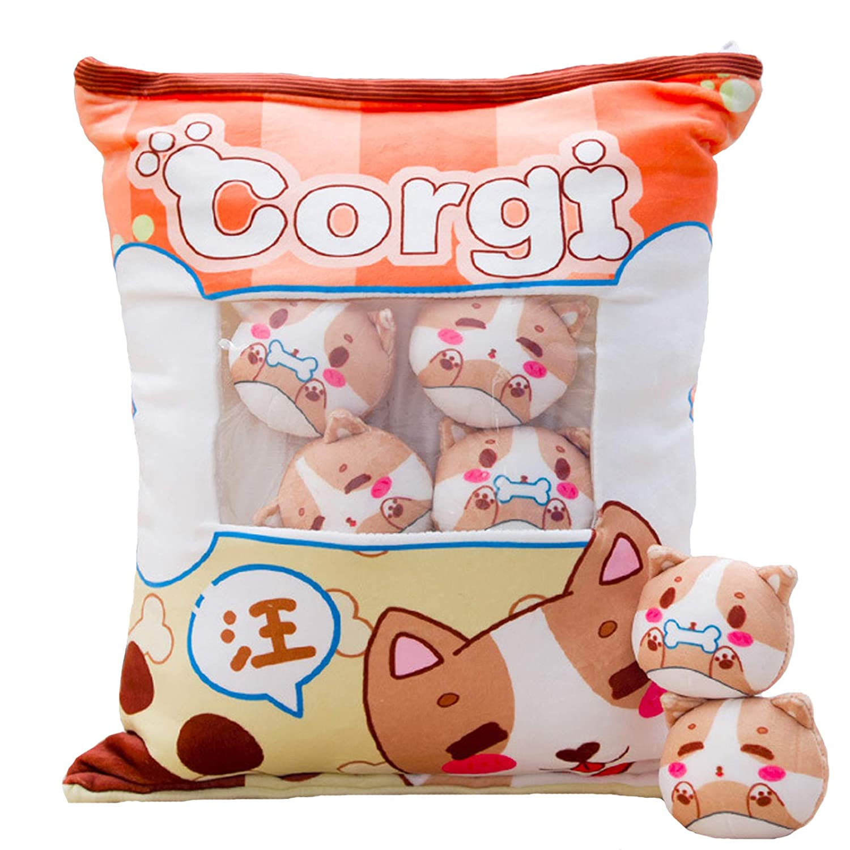 Plush Pillow Cute Corgi Animals Doll Toy Gifts for Teens Girls Kids, Sofa Chair Decorative Pillow, Creative Gifts for Teens Girls Kids